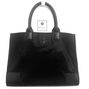 Tory Burch - Ella Tote - Black Nylon and Leather